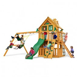 Gorilla Playsets Chateau Clubhouse Treehouse Swing Set w/ Amber Posts