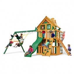Gorilla Playsets Chateau Clubhouse Treehouse Swing Set w/ Timber Shield